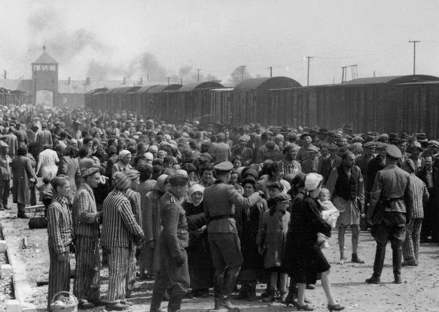 People gathering for a train to Nazi concentration camp.